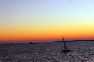 View from our ferry ride from Martha's Vineyard to Falmouth at sunset.