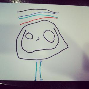 This is the first picture my son ever drew of me. The lines above my head are hair. Love.