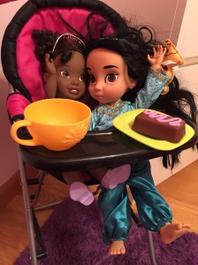 Tiana and Jasmine enjoying a spot of tea.