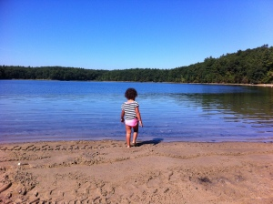 My lovebug on our first solo trip together to Walden Pond.