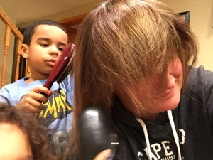 "Operation Brush Mom's hair to ""make it skinny."""