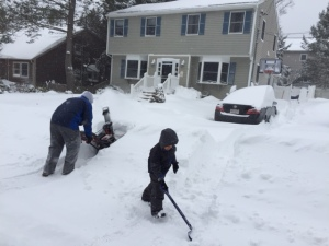 Snowblower + tiny shovel = teamwork.