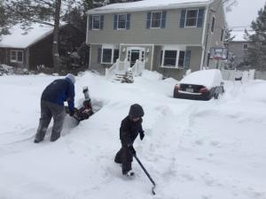 Snowblower + tiny shovel = teamwork.