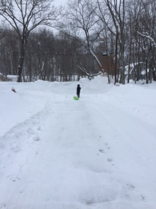 Superhero, dragging his sled.