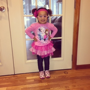 Sweet Pea chose her own outfit for her first day of preschool in January.