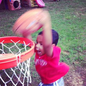 Showing the kiddie hoop who's boss three years ago.